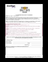 Crazy Days Participation Worksheet