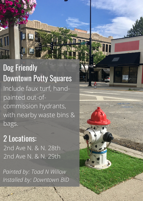 Downtown dog friendly potty spots